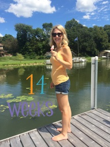 14 weeks pregnant - getting ready to go on the boat.